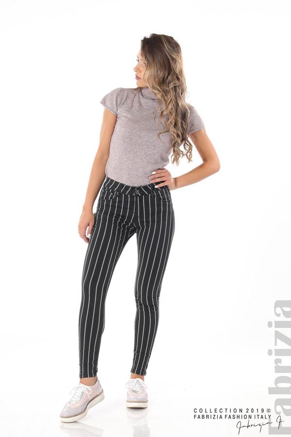 Панталон с десен райе черен 4 fabrizia