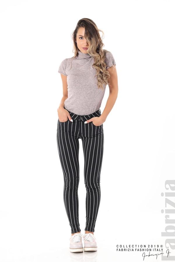 Панталон с десен райе черен 3 fabrizia