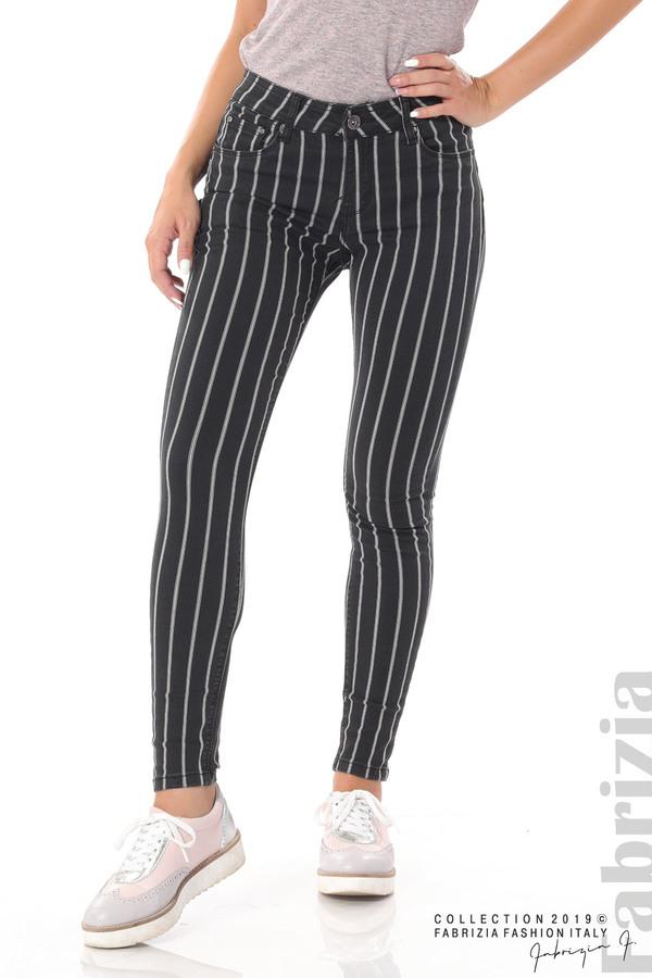 Панталон с десен райе черен 2 fabrizia