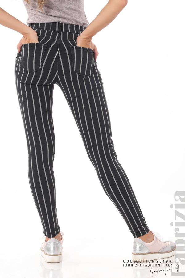 Панталон с десен райе черен 6 fabrizia