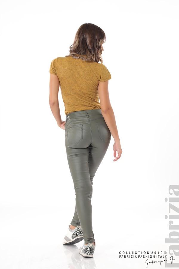 Дамски панталон от еко кожа каки 5 fabrizia