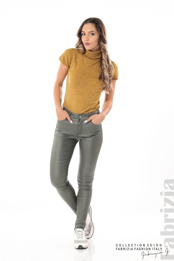 Дамски панталон от еко кожа каки 4 fabrizia