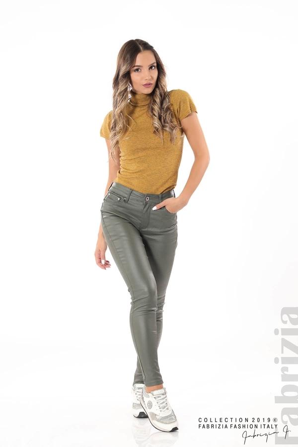 Дамски панталон от еко кожа каки 1 fabrizia