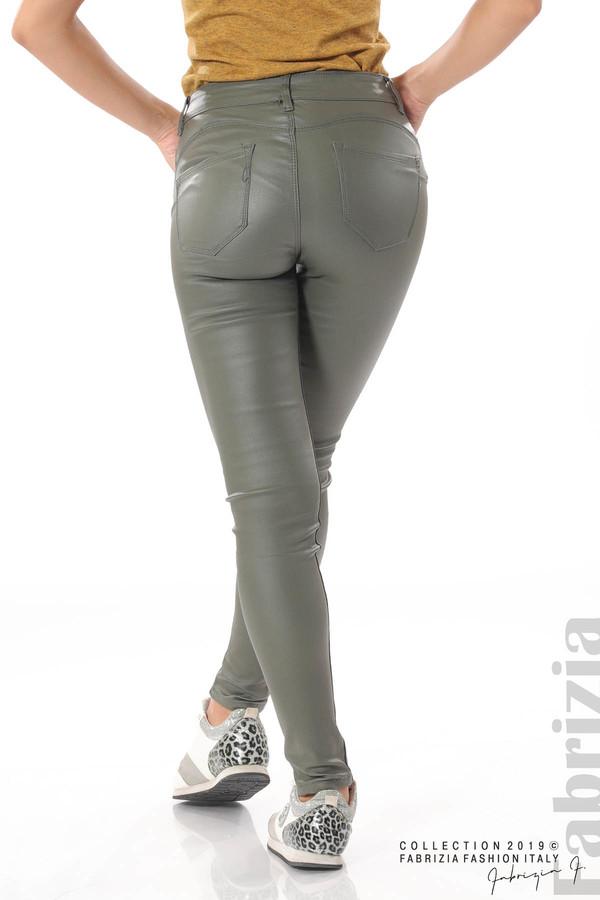 Дамски панталон от еко кожа каки 6 fabrizia