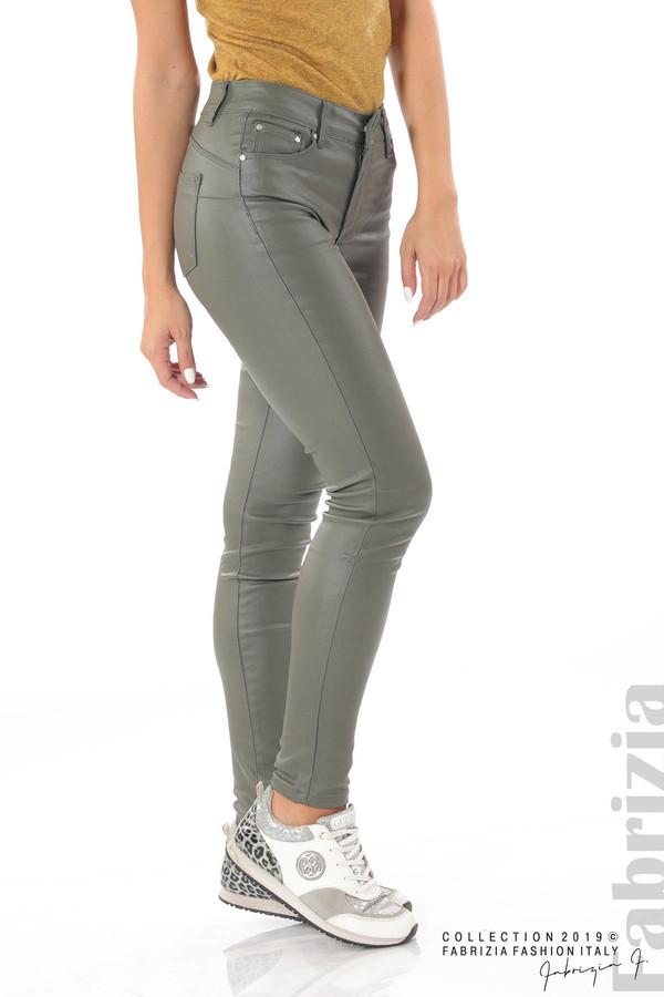 Дамски панталон от еко кожа каки 2 fabrizia