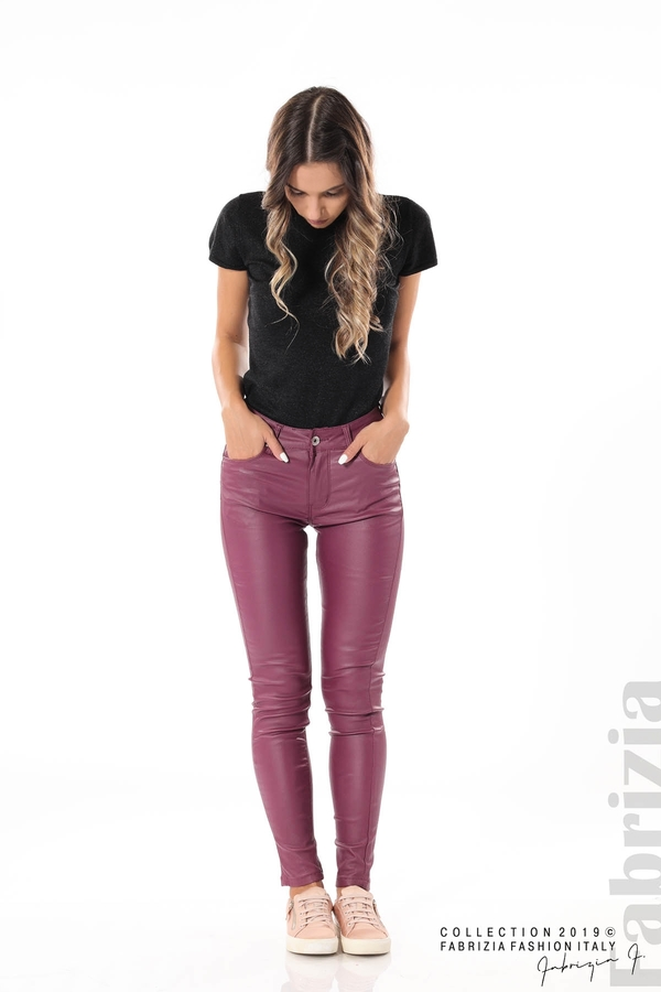 Дамски панталон от еко кожа бордо 3 fabrizia