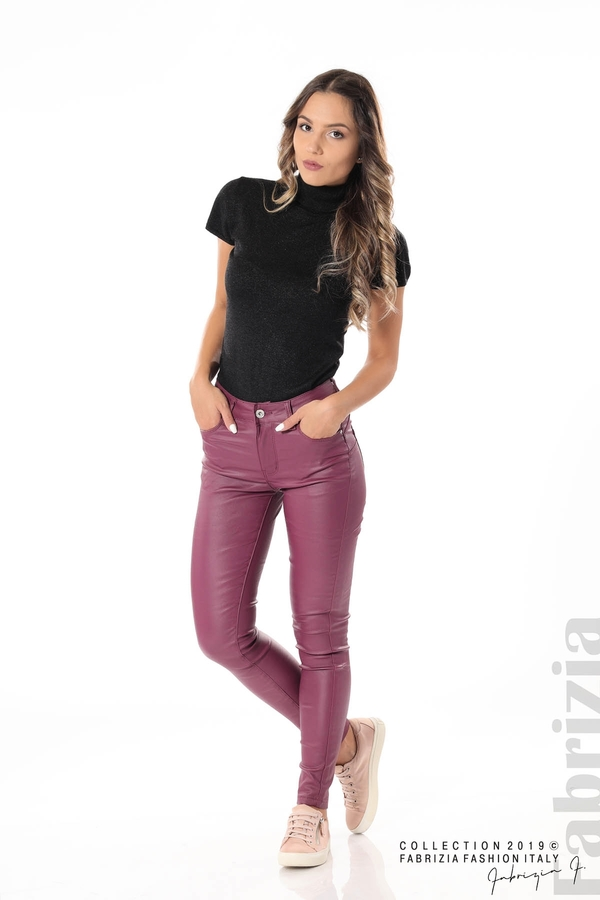 Дамски панталон от еко кожа бордо 4 fabrizia