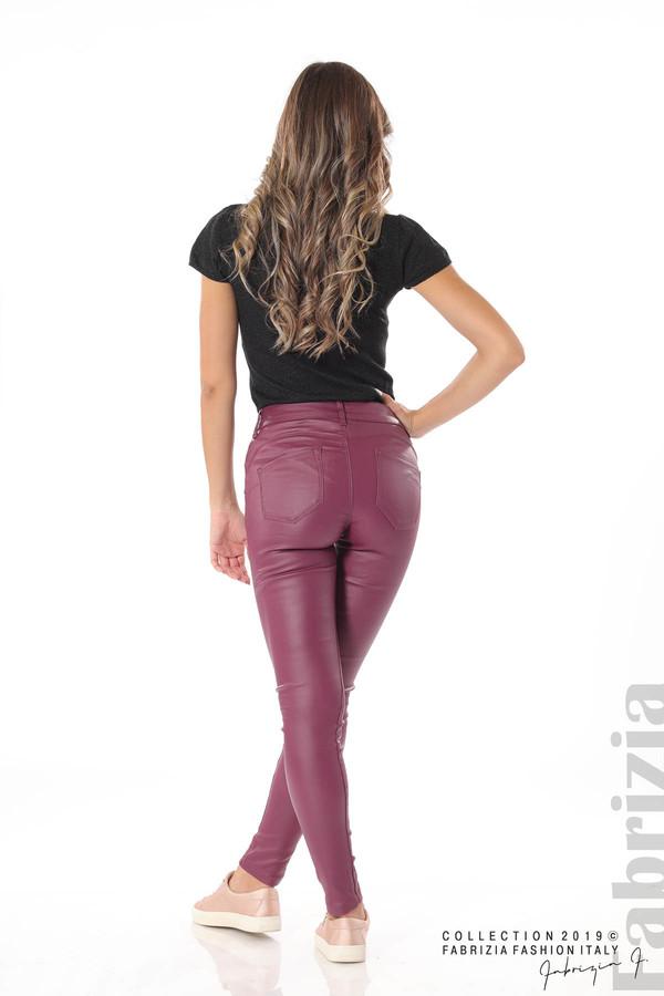 Дамски панталон от еко кожа бордо 5 fabrizia