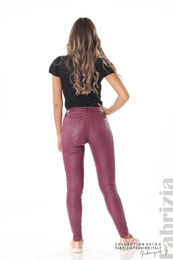 Дамски панталон от еко кожа бордо 6 fabrizia