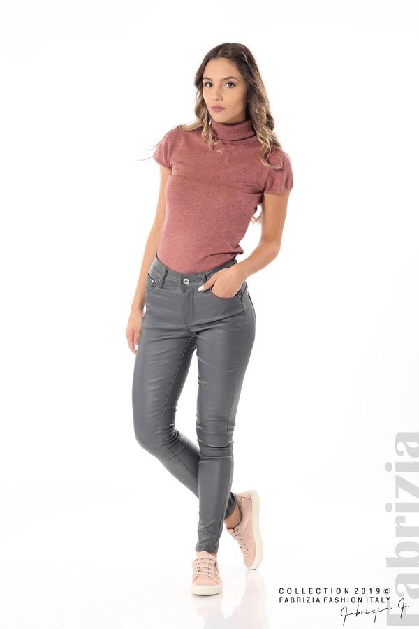 Дамски панталон от еко кожа сив 4 fabrizia