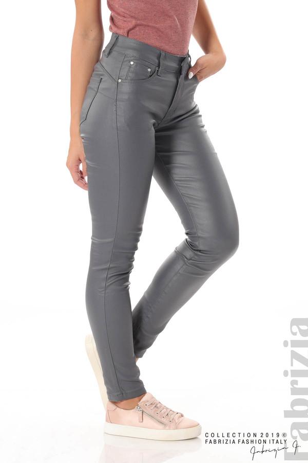 Дамски панталон от еко кожа сив 2 fabrizia