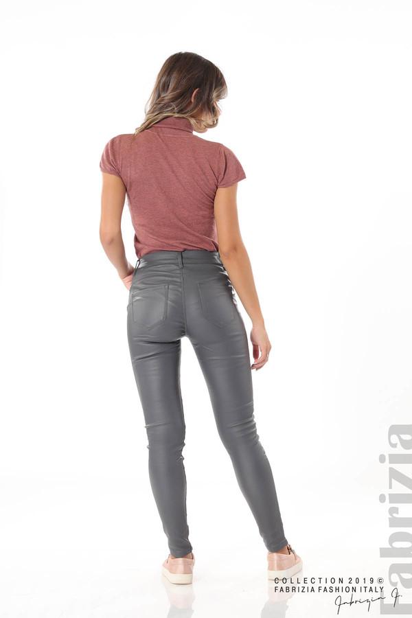 Дамски панталон от еко кожа сив 5 fabrizia