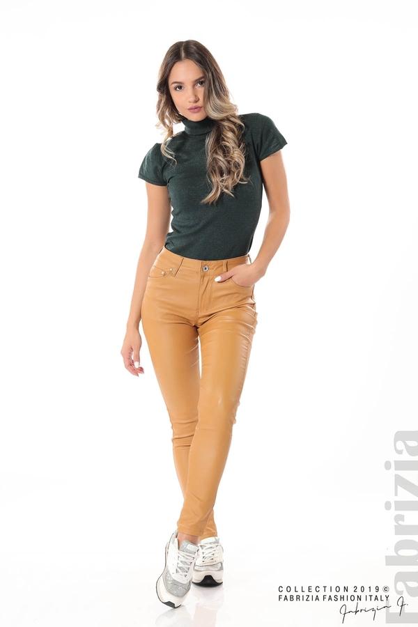 Дамски панталон от еко кожа горчица 1 fabrizia