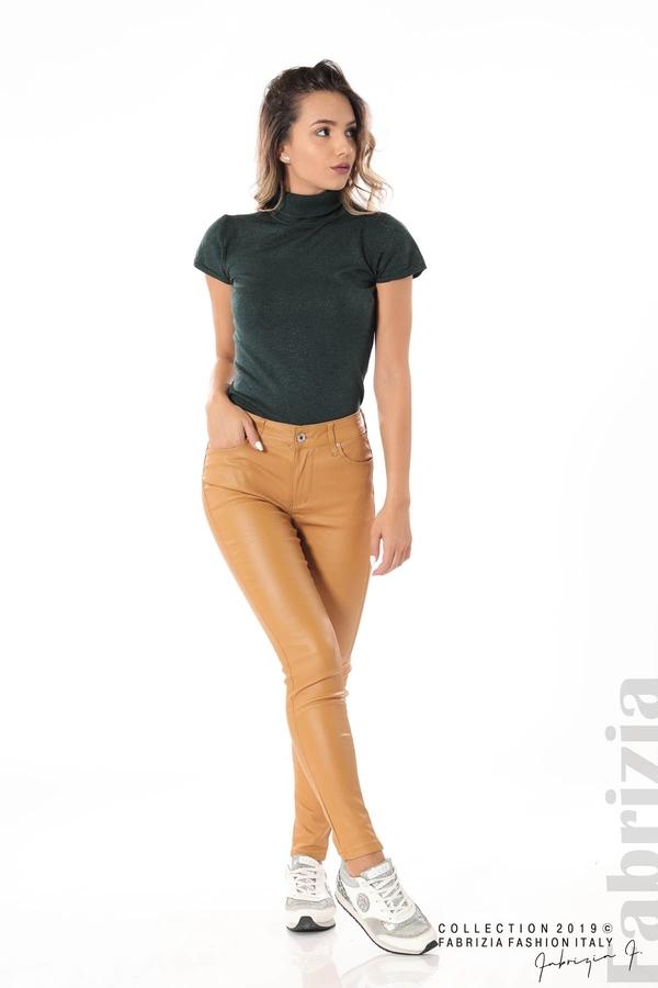 Дамски панталон от еко кожа горчица 3 fabrizia