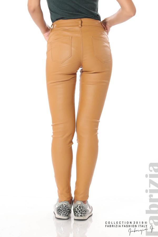 Дамски панталон от еко кожа горчица 6 fabrizia