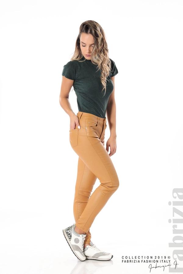 Дамски панталон от еко кожа горчица 4 fabrizia