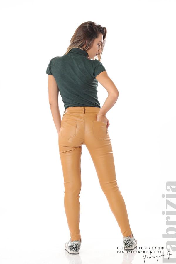 Дамски панталон от еко кожа горчица 5 fabrizia