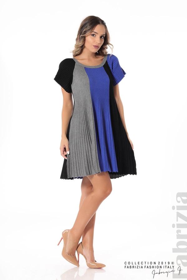 Къса плисирана рокля син 3 fabrizia