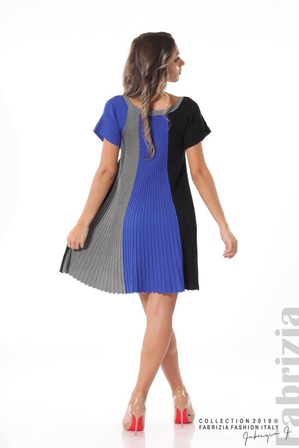 Къса плисирана рокля син 4 fabrizia
