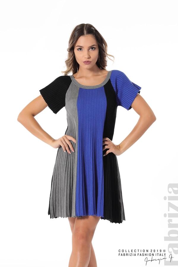 Къса плисирана рокля син 1 fabrizia