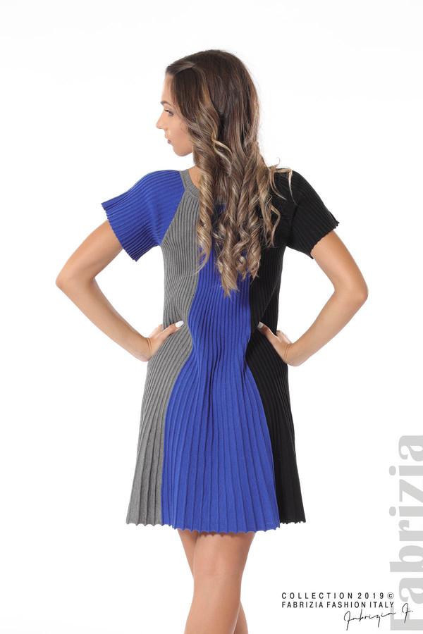 Къса плисирана рокля син 5 fabrizia