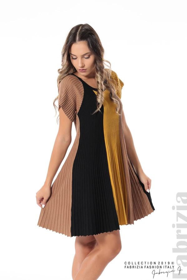 Къса плисирана рокля горчица 1 fabrizia