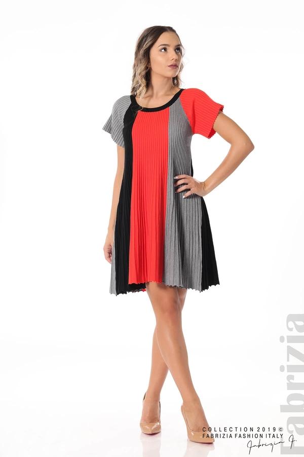 Къса плисирана рокля т.оранж 3 fabrizia