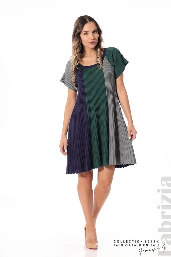 Къса плисирана рокля т.зелен 2 fabrizia