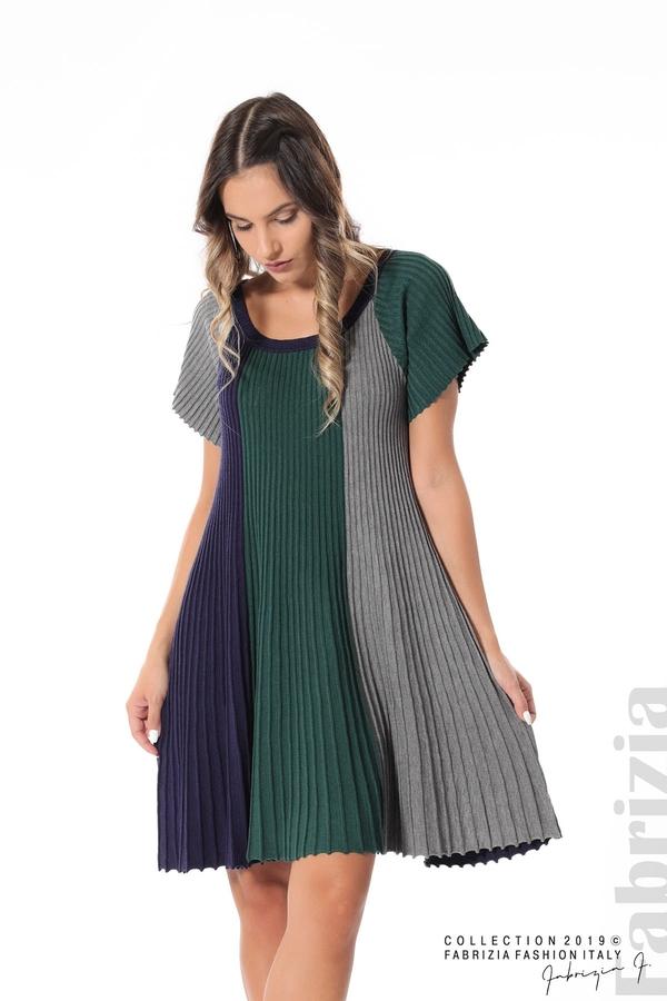 Къса плисирана рокля т.зелен 1 fabrizia