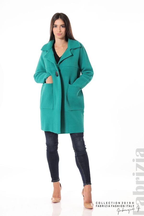 Дамско право палто зелен 2 fabrizia