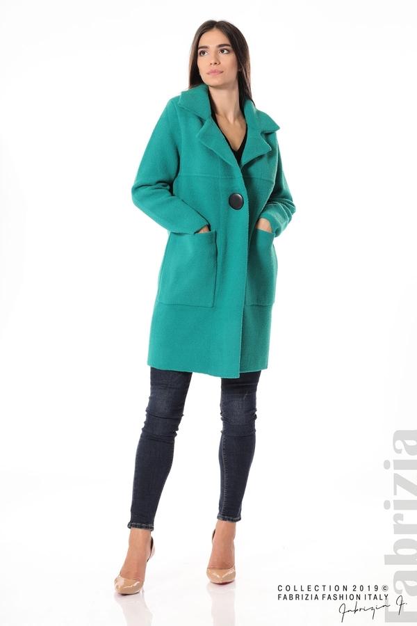Дамско право палто зелен 3 fabrizia