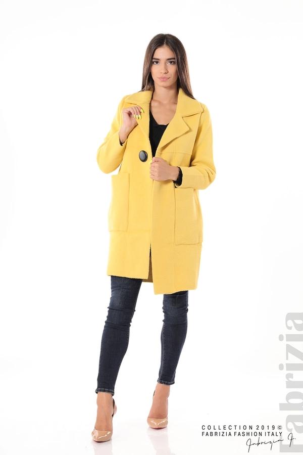 Дамско право палто жълт 2 fabrizia