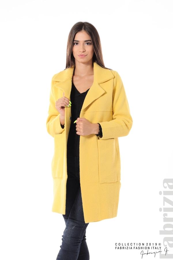 Дамско право палто жълт 1 fabrizia