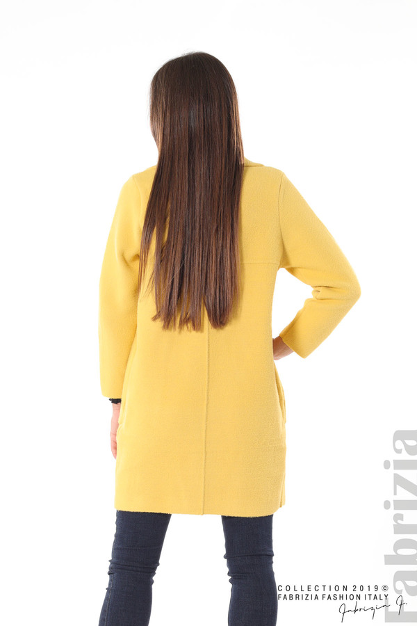 Дамско право палто жълт 5 fabrizia
