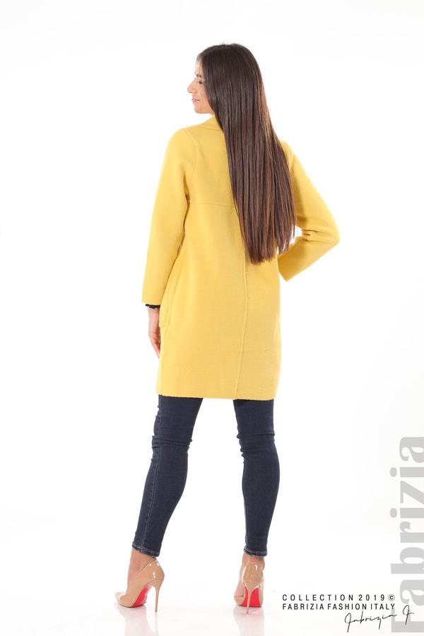 Дамско право палто жълт 4 fabrizia