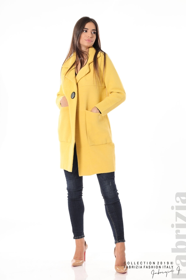 Дамско право палто жълт 3 fabrizia