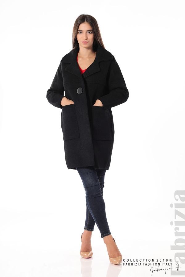 Дамско право палто черен 3 fabrizia