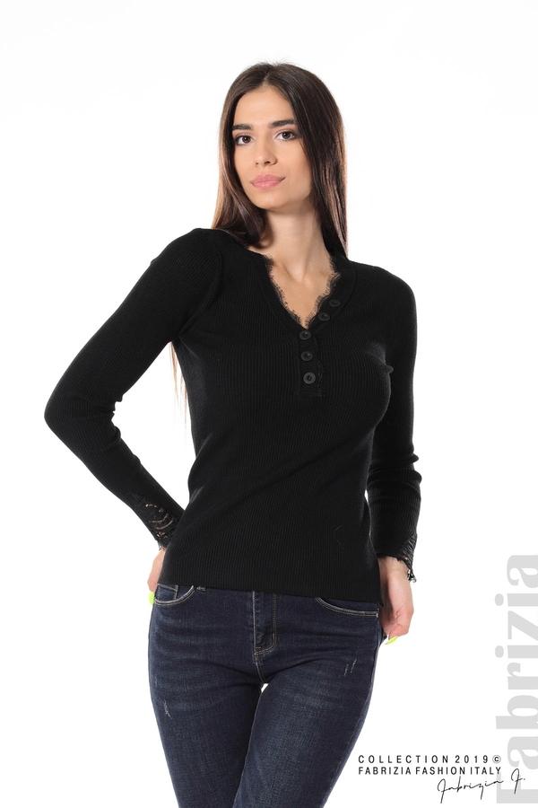 Блуза с дантела на ръкавите черен 1 fabrizia