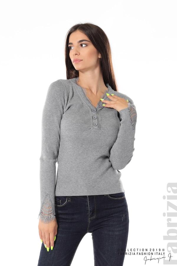 Блуза с дантела на ръкавите сив 1 fabrizia