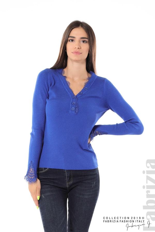 Блуза с дантела на ръкавите кр.син 1 fabrizia