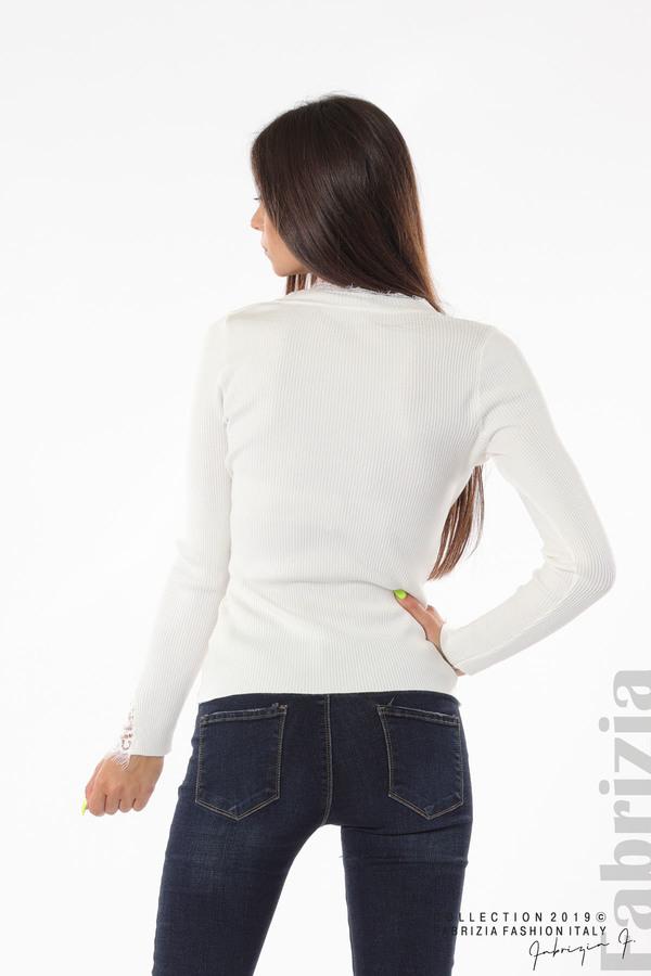 Блуза с дантела на ръкавите бял 5 fabrizia