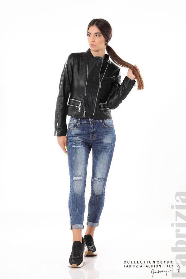 Късо кожено яке черен 6 fabrizia