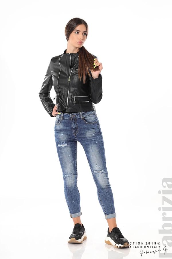 Късо кожено яке черен 5 fabrizia