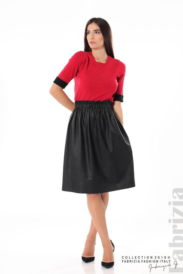 Комплект блуза и кожена пола черен/червен 3 fabrizia