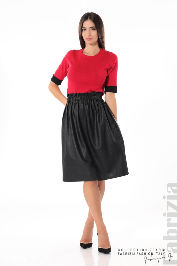 Комплект блуза и кожена пола черен/червен 1 fabrizia