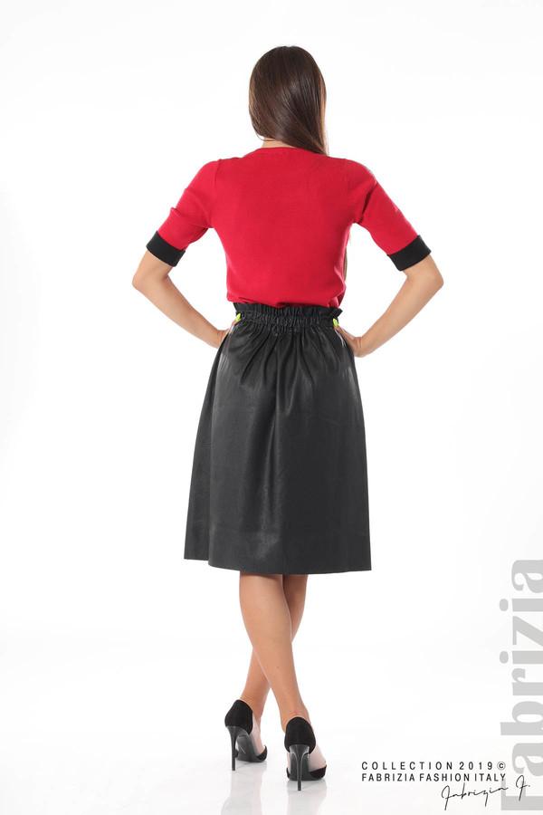Комплект блуза и кожена пола черен/червен 4 fabrizia