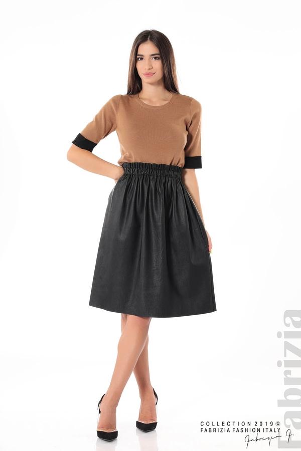 Комплект блуза и кожена пола черен/кафяв 1 fabrizia