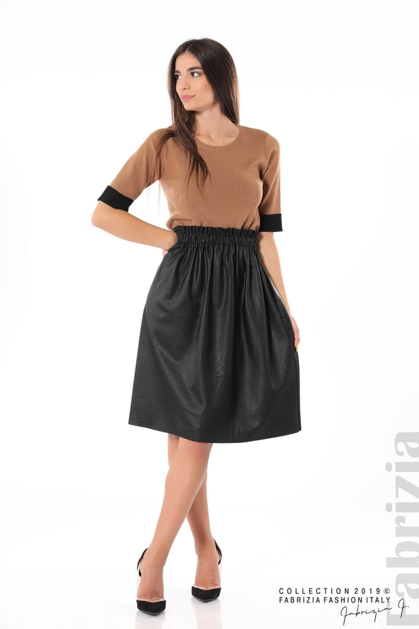 Комплект блуза и кожена пола черен/кафяв 3 fabrizia