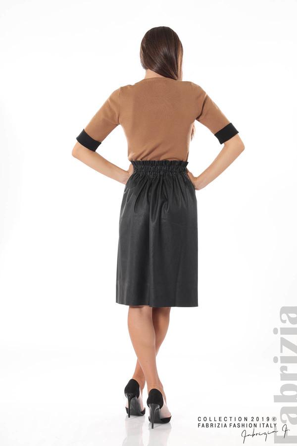 Комплект блуза и кожена пола черен/кафяв 4 fabrizia