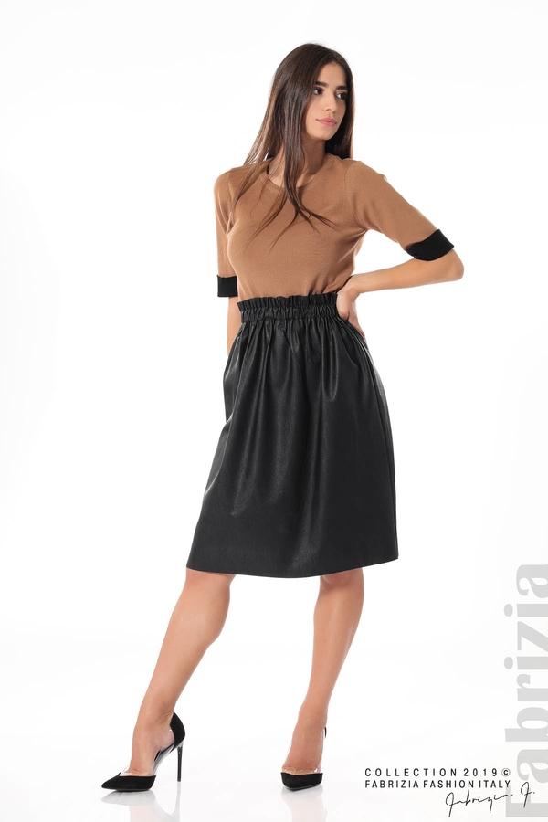 Комплект блуза и кожена пола черен/кафяв 2 fabrizia